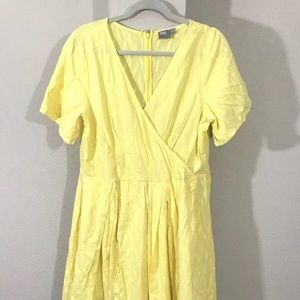 Yellow fit and flare cotton dress ASOS 14 asymm